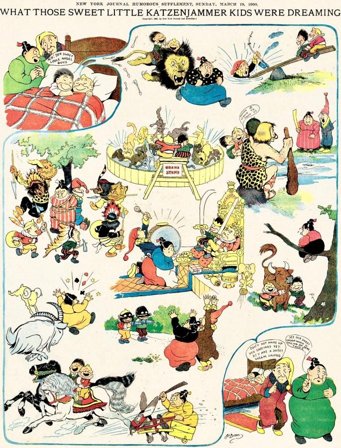 En söndagssida från 18 mars 1900. Notera att Dirks använder en pratbubbla för att visa drömsekvensen. Dessutom förekommer Papa Katzenjammer, en seriefigur som försvann när det Captain dök upp 1902.