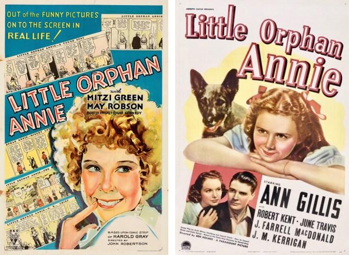 Filmaffischer med Little Orphan Annie från 1932 och 1938. ©RKO/Paramount