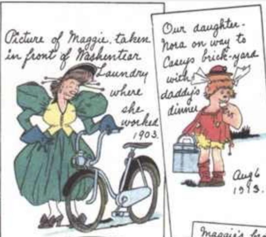 I söndagssidan från 5 februari 1933 har Jiggs hittat ett fotoalbum på vinden, som innehåller en bild som vet att berätta att Maggie arbetade på ett tvätteri 1903. ©KFS