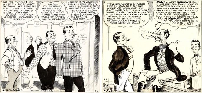 Original till två cartoons med Colonel Gilfeather, från 2 augusti och 9 september 1932, signerade A. G. Caplin. ©AP