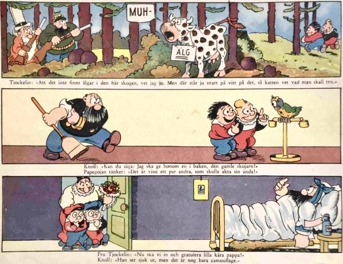 Omslagets baksida till julabumet med Knoll och Tott 1947. ©Bulls