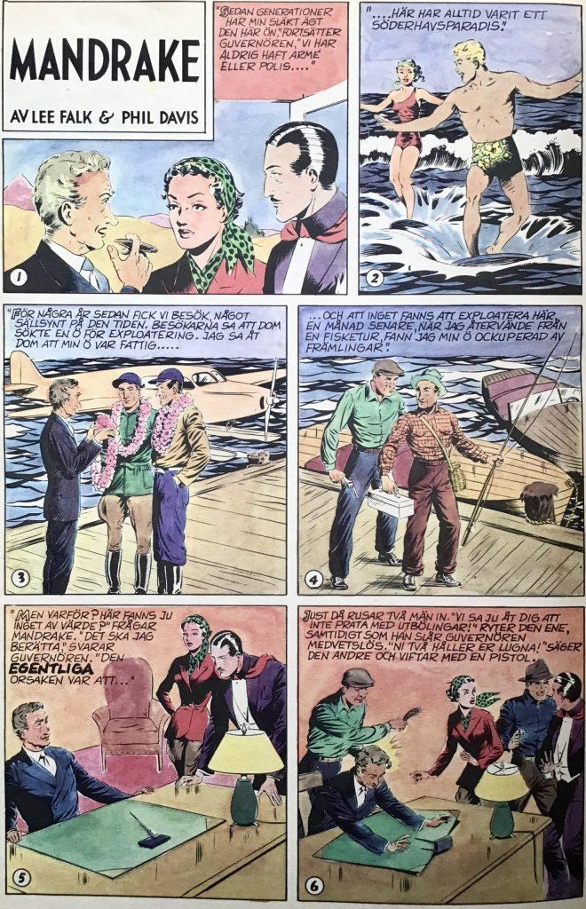 En söndagssida med Mandrake från 20 februari 1949, ur Comics nr 4. ©Bulls