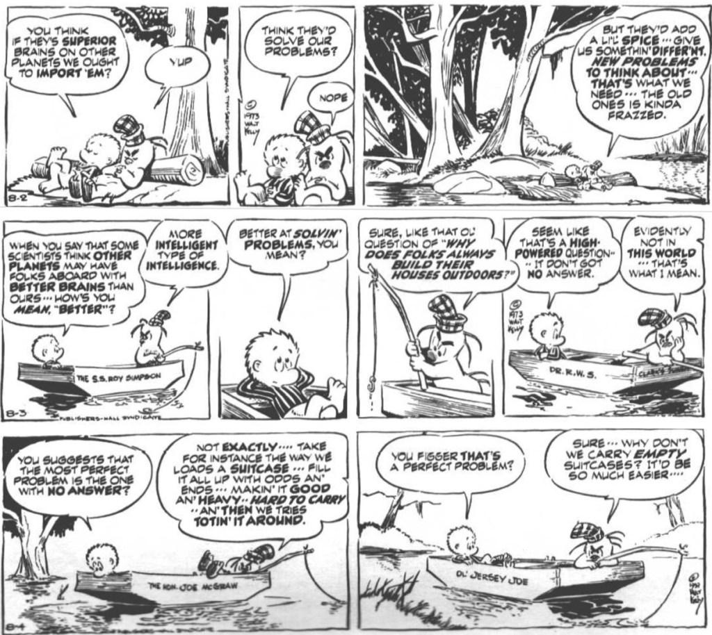 Dagsstrippar med Pogo från 2-4 augusti 1973. ©Kelly