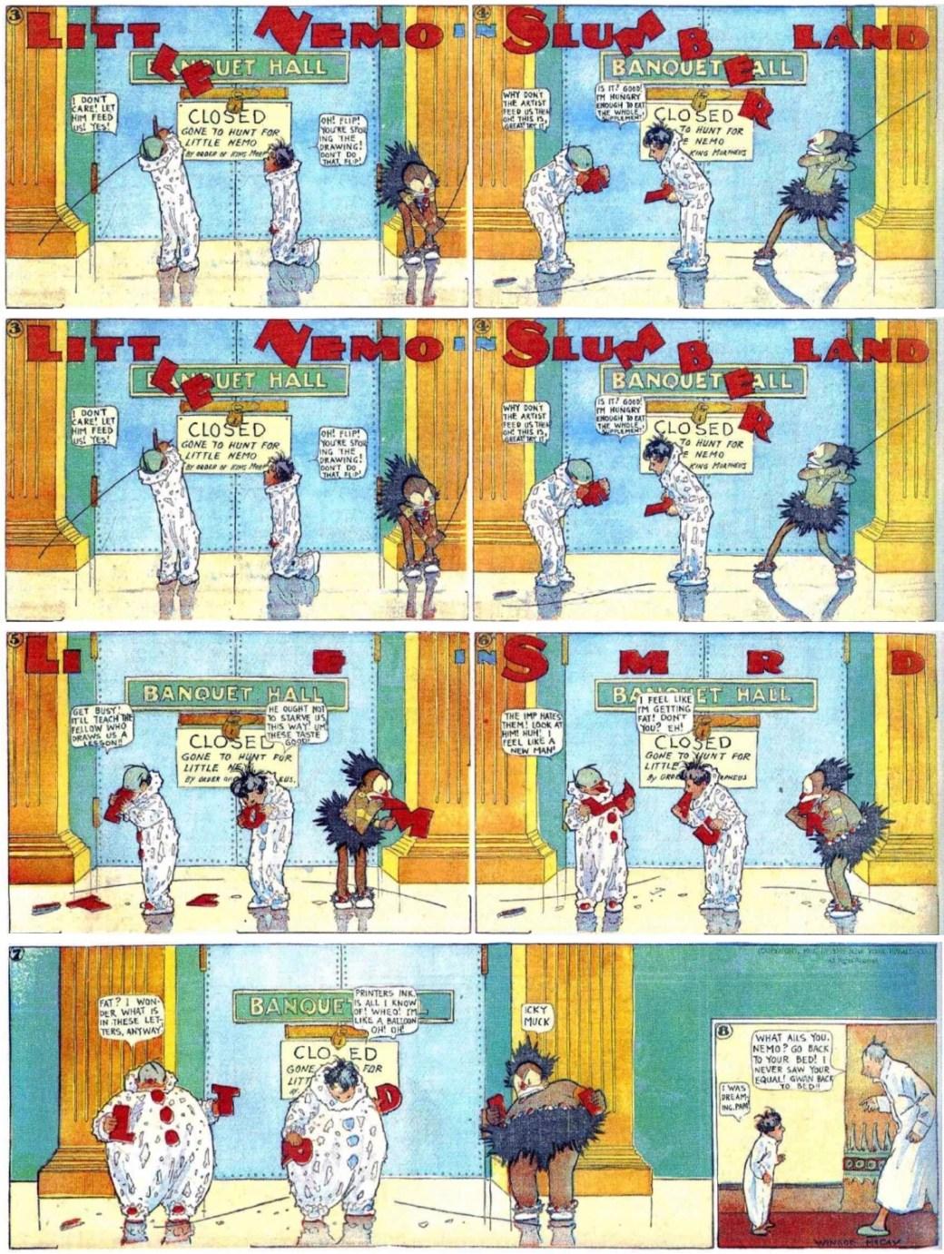 En söndagssida med Little Nemo in Slumberland, från 1 december 1907, som bryter igenom fjärde väggen när seriefigurerna tar loss serierutans ram, och äter upp bokstäverna i seriens titel. ©New York Herald