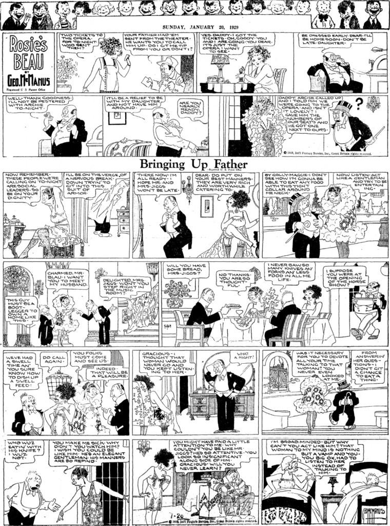 En söndagssida med Bringing Up Father och topper-serien Rosie's Beau, från 20 januari 1929. ©KFS