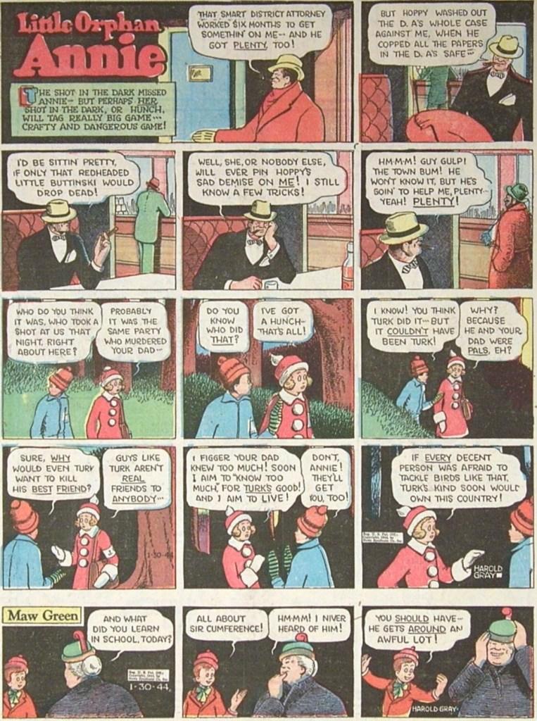 """Söndagssida med Little Orphan Annie, och """"topper""""-serien Maw Green, från 30 januari 1944. ©TMS"""