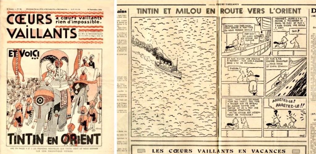 Första införandet av episoden i Coeurs Vaillants N. 38, 1934.
