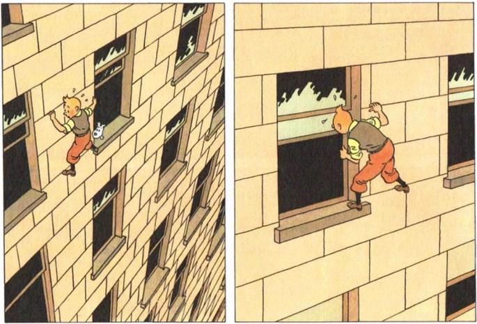 Ett par dramatiska serierutor från sid. 10 ur Tintin i Amerika. ©Hergé-Moulinsart