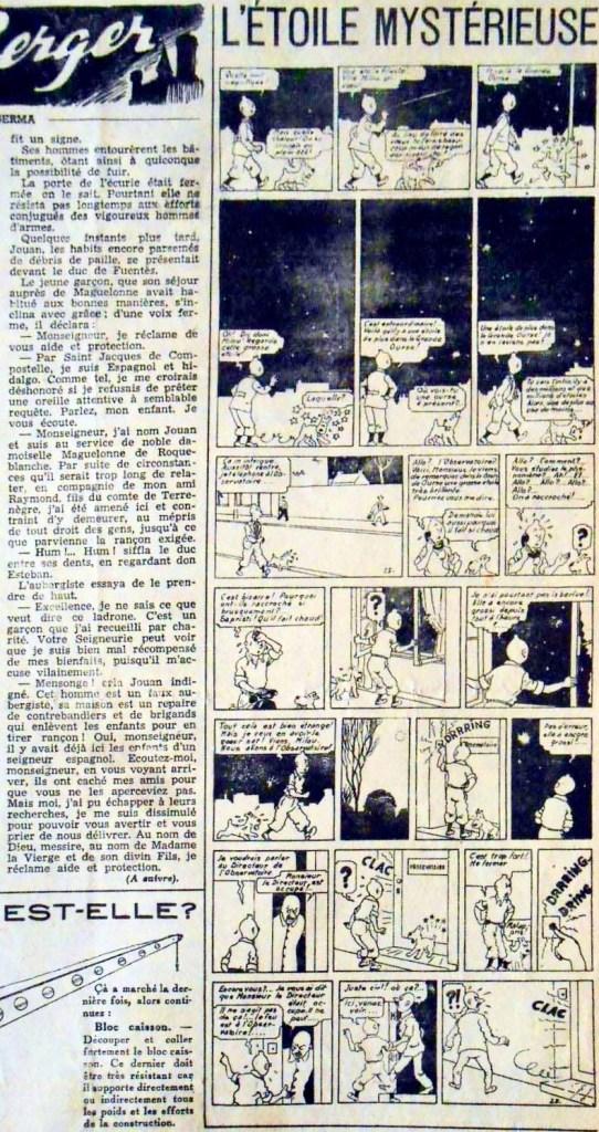 Inledningen av episoden i Coeurs Vaillants i juni 1943. ©Coeurs Vaillants/Hergé-Moulinsart