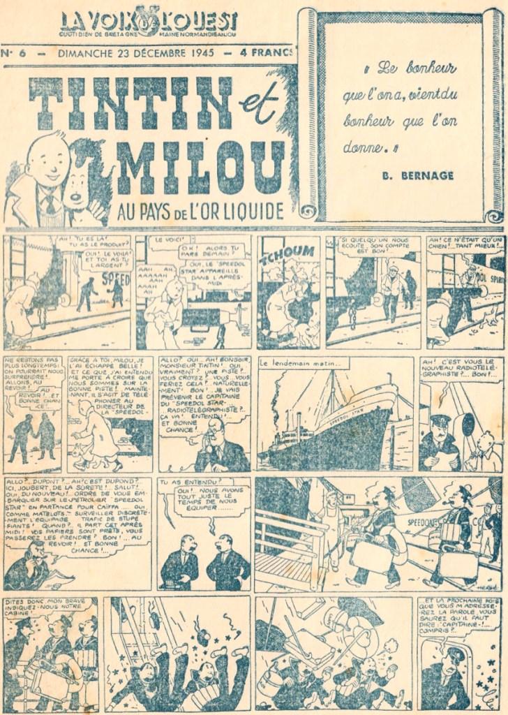 La Voix de l'Ouest från 23 december 1945. ©La Voix de l'Ouest/Hergé-Moulinsart