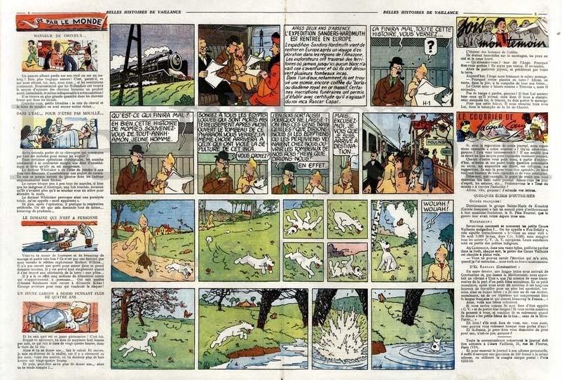 Inledningen av episoden i Coeurs vaillants N. 1 från 19 maj 1946. ©Coeurs vaillants/Hergé-Moulinsart