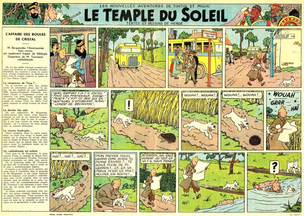 Episoden med titeln Le Temple du Solveig ur Le Journal de Tintin, från 26 september 1946. ©Hergé-Moulinsart