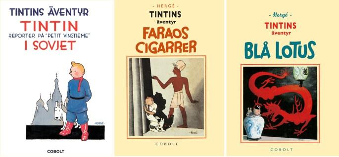 Tre retroutgåvor med Tintins äventyr. ©Cobolt