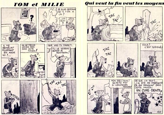 Ett uppslag med Tom et Millie, där Tom inte kan finna en tandpetare och måste tillverka en själv. ©Hergé-Moulinsart