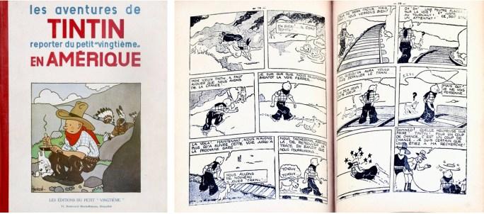 Omslag och ett uppslag ur seriealbumet (1932). ©Hergé-Moulinsart