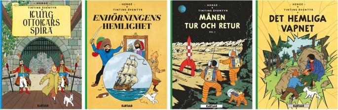 Några av Tintins äventyr (2016-18). ©Kartago