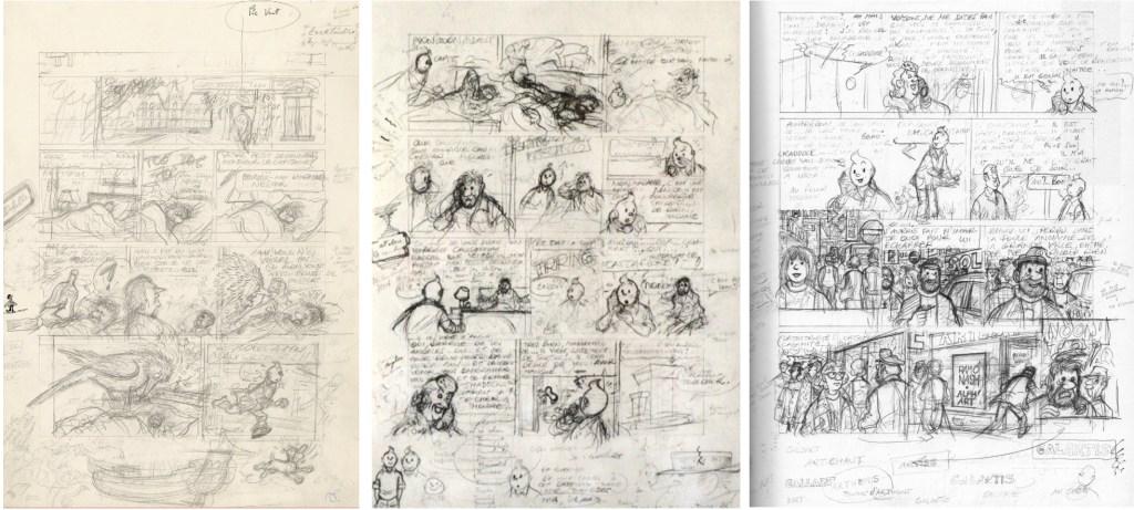 Skisser av Hergé till tre inledande sidor. ©Hergé-Moulinsart