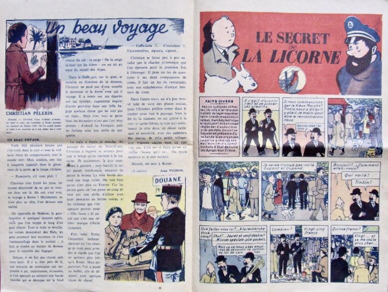 Tintin ur Coeurs vaillants N. 8 från 19 mars 1944. ©Coeurs Vaillants/Hergé-Moulinsart