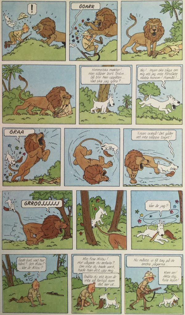 En sida med Tintin i Kongo ur Comics nr 3. ©PIB