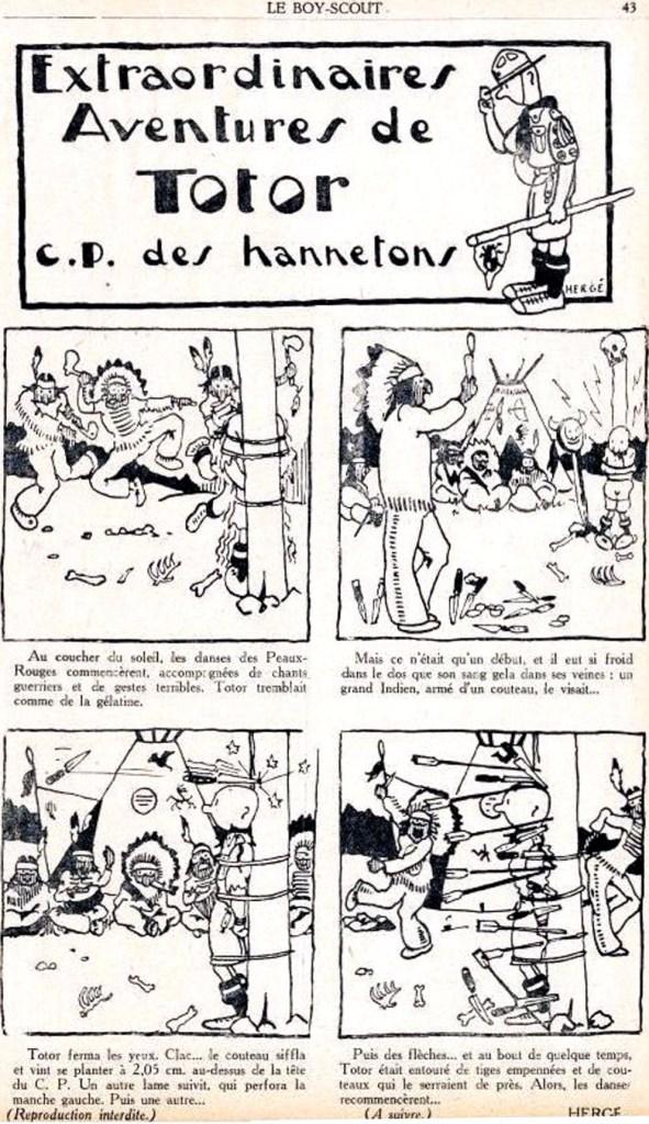 En sida med scoutledare Totor ur Le Boy-Scout Belge. ©Hergé-Moulinsart