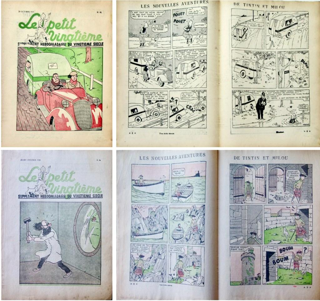 Le Petit Vingtième N. 43 från 28 oktober 1937, och N. 5 från 3 februari 1938. ©XXe Siècle/Hergé-Moulinsart