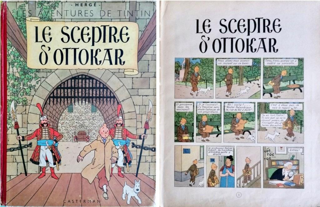 Omslag och inledande sida ur Le Sceptre d'Ottokar (1947). ©Casterman/Hergé-Moulinsart