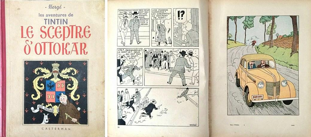 Omslag och ett uppslag med färginslag ur Le Sceptre d'Ottokar (1939). ©Casterman/Hergé-Moulinsart