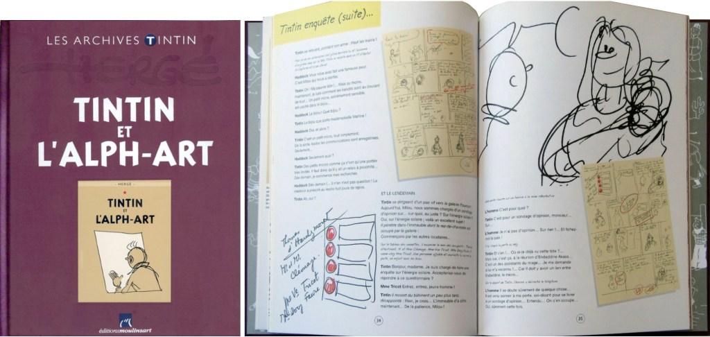Omslag och ett uppslag ur Tintin et l'Alph-Art (2010). ©Hergé-Moulinsart