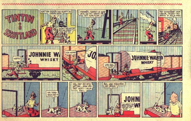 Den svarta ön fick titeln Tintin i Skottland vid publiceringen i 25:an (1950-51). ©PIB