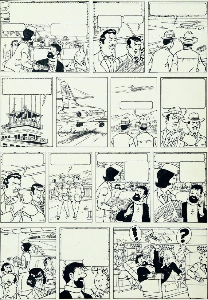 Sprattet på Studios Hergé: Original till den falska Tintin-sidan, tecknad av Jacques Martin och Bob De Moor.