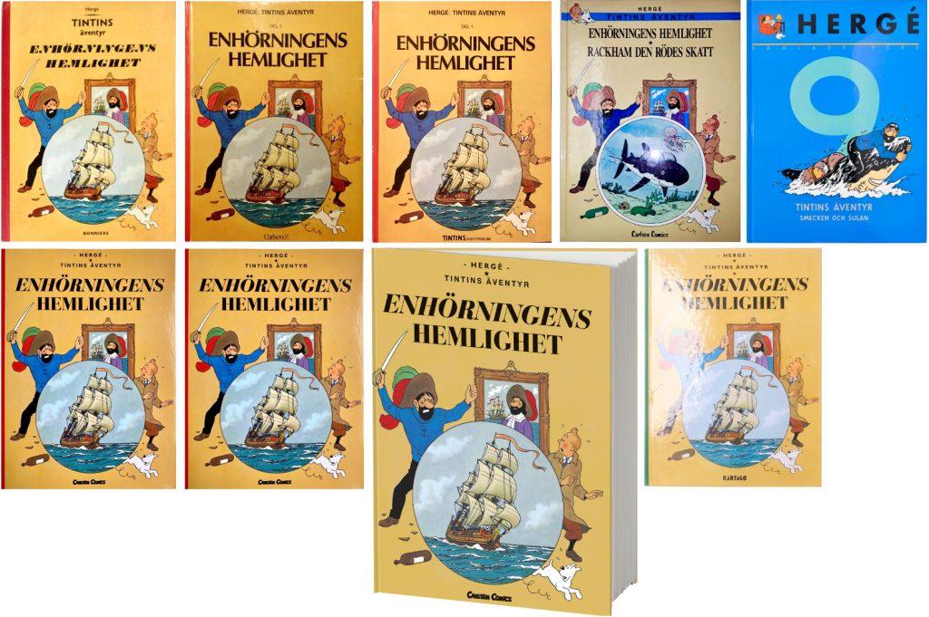 Enhörningens hemlighet är ett av de seriealbum med Tintin som utkommit med flest utgåvor. ©Bonniers/Carlsen/Kartago/Cobolt/Nordisk bok