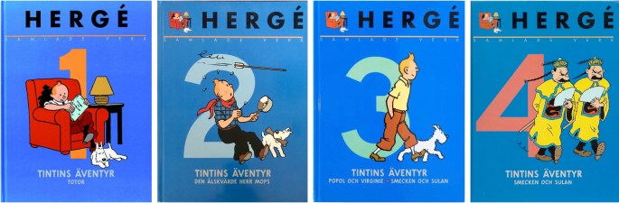 Hergé, samlade verk, nr 1-4 (1999). ©Bonnier/Carlsen