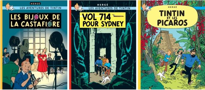 De tre sista seriealbumen med Tintin. ©Hergé-Moulinsart