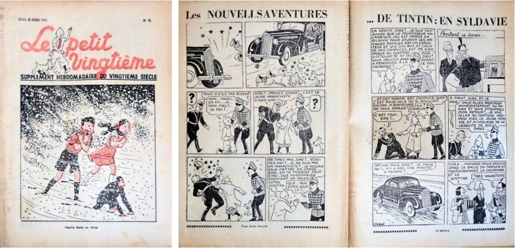 Framsida och uppslaget med Tintin ur Le Petit Vingtième N. 12 från 23 mars 1939. ©Le XXe Siècle/Hergé-Moulinsart