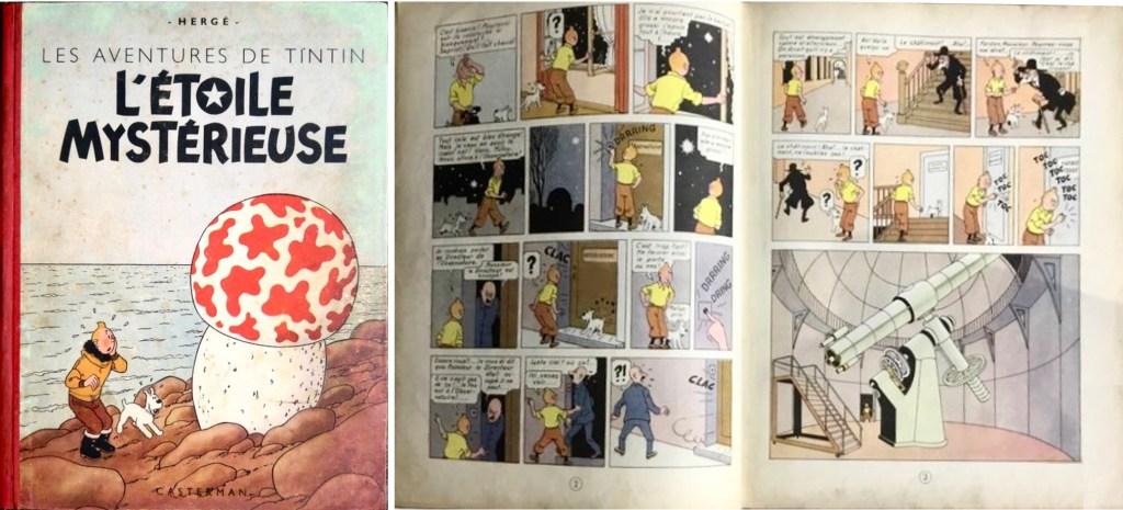 Omslag och ett uppslag ur L'Étoile mystérieuse (1942). ©Hergé-Moulinsart