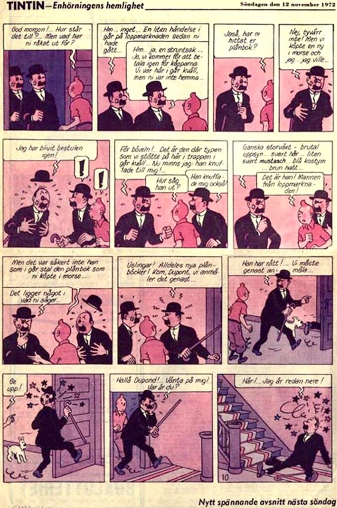 Tintin ur Aftonbladet från 12 november 1972. ©PIB