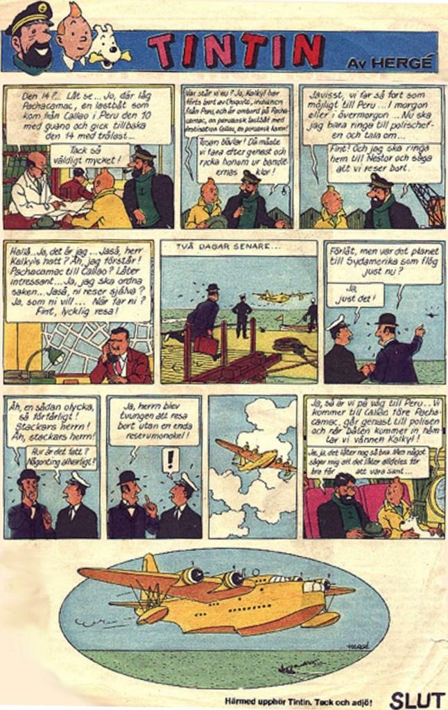 Tintin ur Saxons veckotidning nr 6, 1976. ©PIB