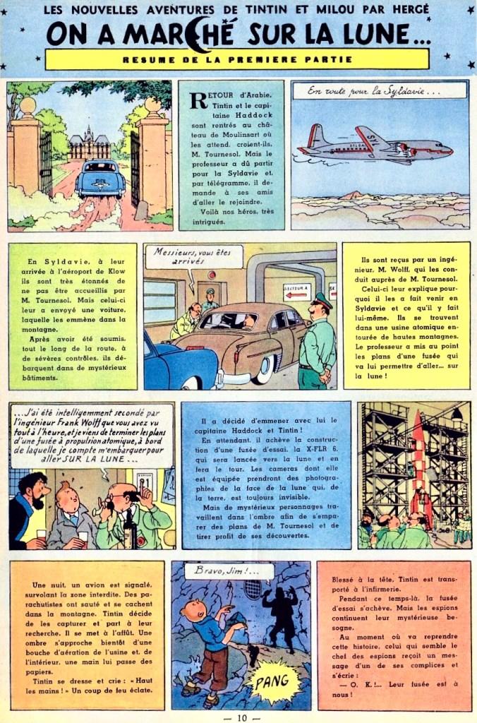 När Tintin återkom i Le Journal de Tintin den 9 april 1952 inleddes publiceringen med en resumé. ©Hergé-Moulinsart