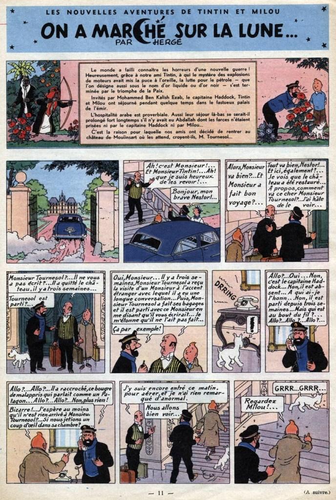 Den inledande sidan ur Le Journal de Tintin från 30 mars 1950, som börjar med en resumé av Det svarta guldet som närmast föregick publiceringen. ©Hergé-Moulinsart