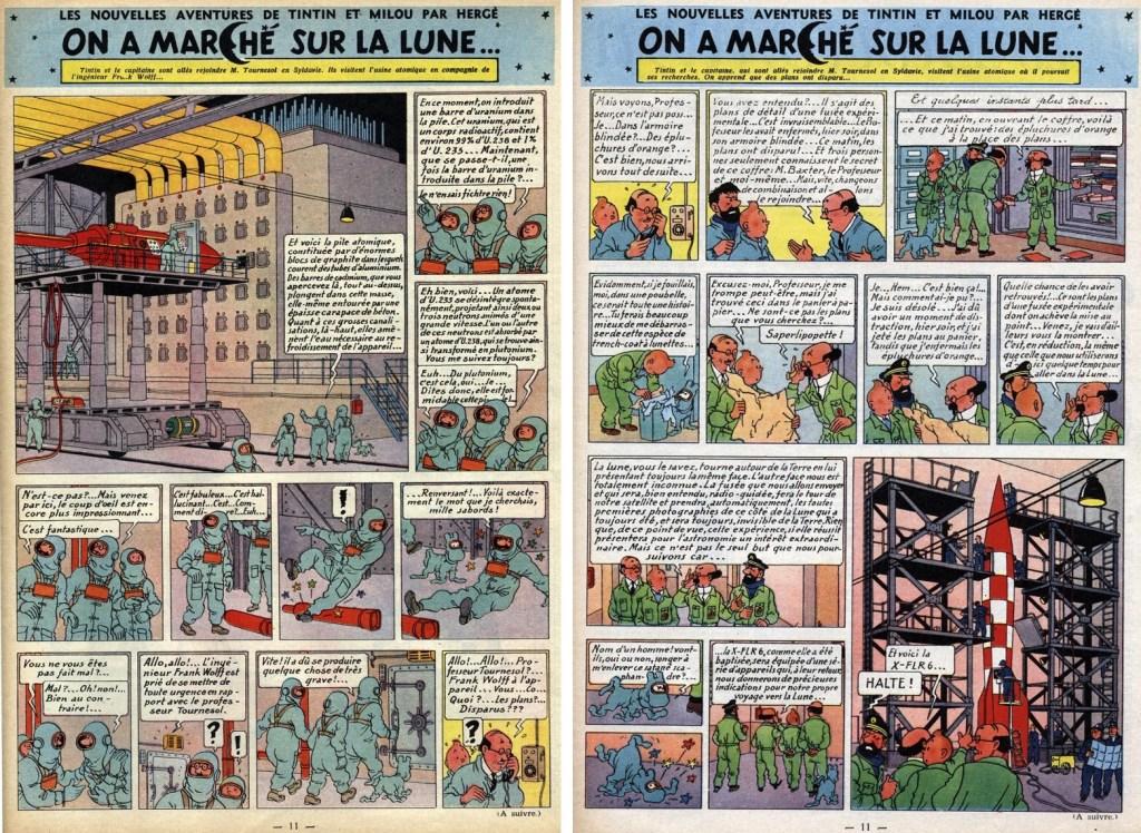 Tintin-episoden Månen tur och retur, införande 13 och 14, i Le Journal de Tintin. ©Hergé-Moulinsart