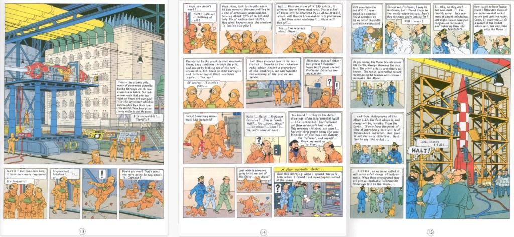 Motsvarande del av episoden som sidorna 13-15 i seriealbum. ©Hergé-Moulinsart