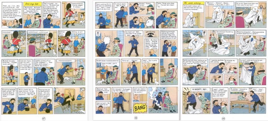 Motsvarande del av episoden som sidorna 47-49 i seriealbum, med en sida tilltecknad. ©Hergé-Moulinsart