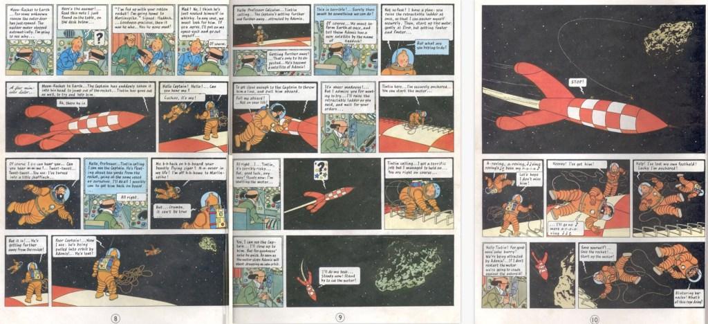 Motsvarande del av episoden som sidorna 8-10 i del 1, med en del tilltecknat och annat borttaget. ©Hergé-Moulinsart