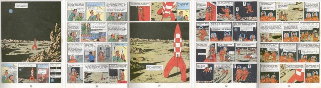 Motsvarande del av episoden på sidorna 23-27 i del 2, med en sida ur originalet bortredigerad. ©Hergé-Moulinsart