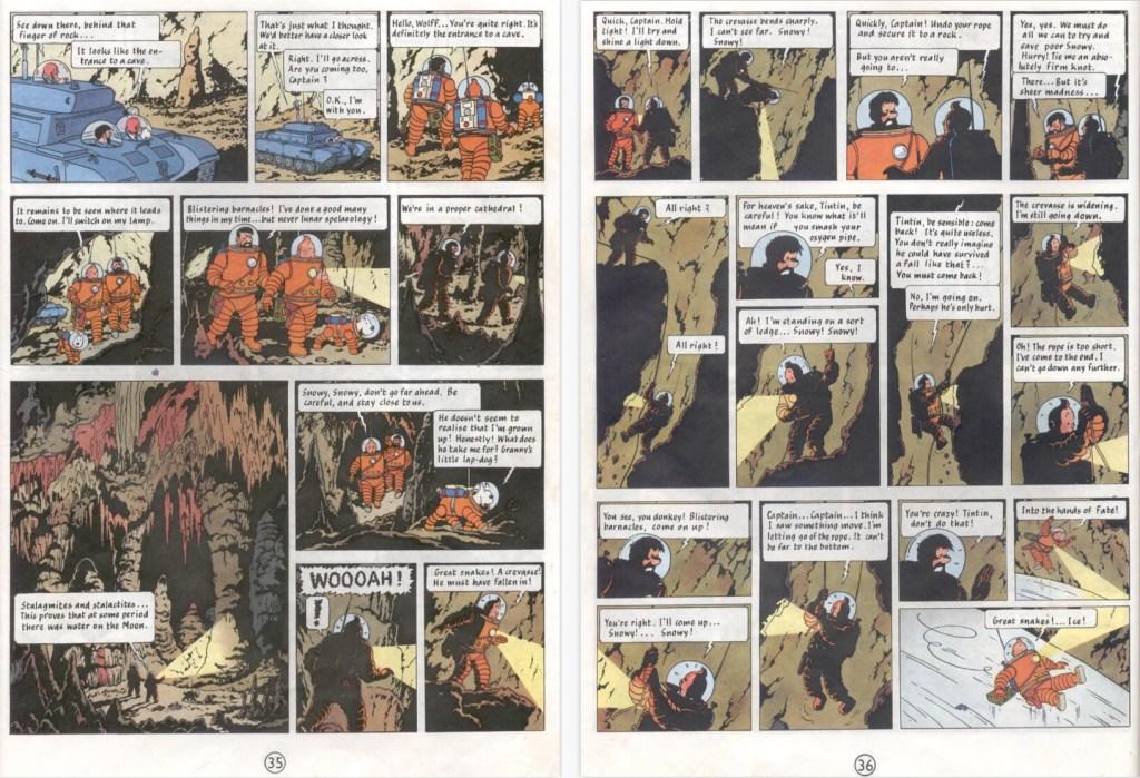 Motsvarande del av episoden på sidorna 35-36 i del 2. ©Hergé-Moulinsart
