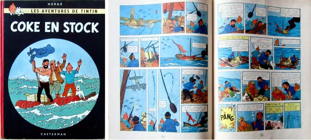Omslag och ett uppslag ur Coke en stock (1958). ©Hergé-Moulinsart