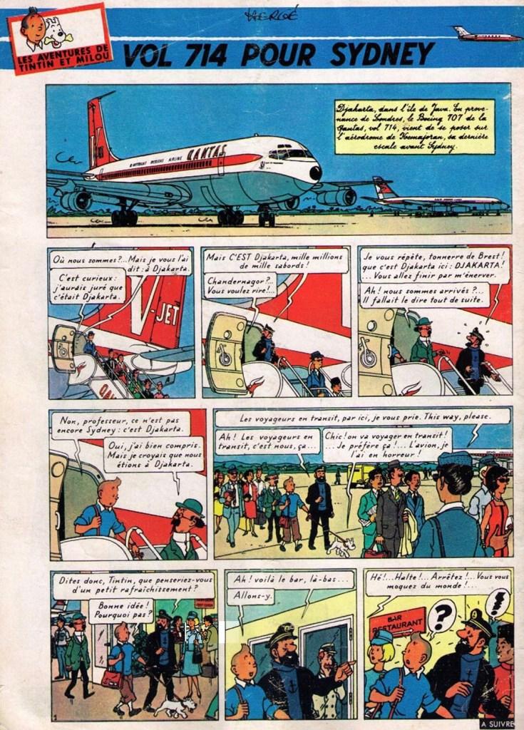 Den inledande sidan till Vol 714 pour Sydney ur Le Journal de Tintin från 1 september 1966. ©Hergé-Moulinsart