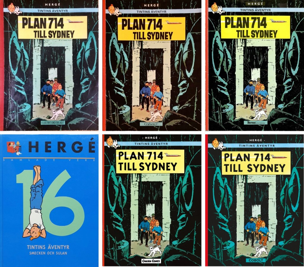 Plan 714 till Sydney har utkommit i flera utgåvor på svenska. ©Bonniers/Carlsen/Cobolt/Nordisk bok