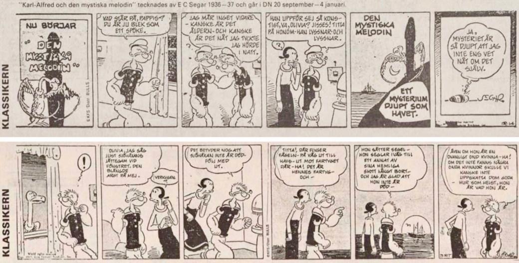 Första och sista strippen i DNs publicering av Karl-Alfred (serien). ©Bulls