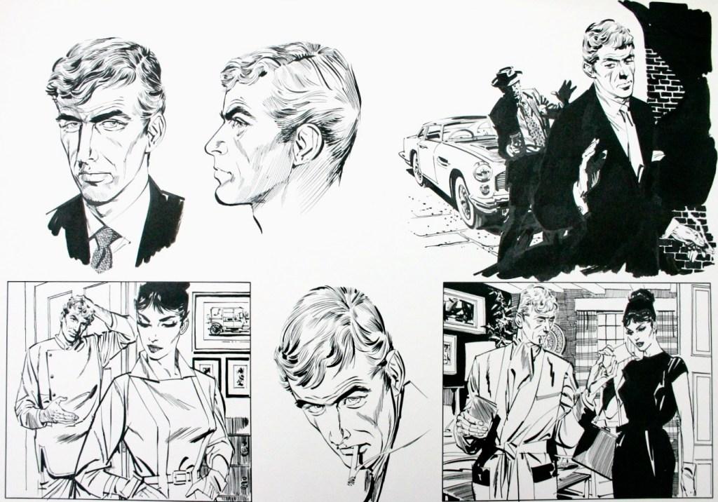 Även Jim Holdaway fick göra provskisser innan han fick jobbet. Här är några stilstudier med Willie Garvin.